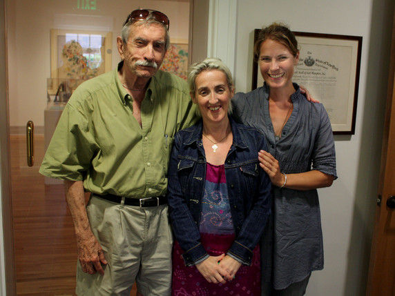 Edward Albee with playwright Barbara Hammond and actress Aedin Moloney, at a special Fallen Angel Theatre Company script development reading of Hammond's Eva the Chaste (from the Eva Trilogy)