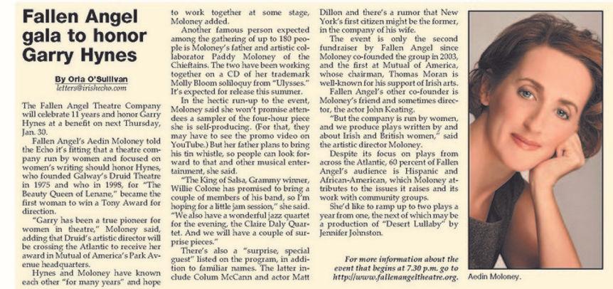 Irish Echo write up on Fallen Angel Theatre's honoring tony winning director, Garry Hynes. At the 2014 Gala Benefit