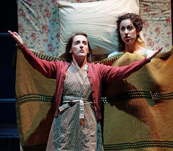 Aedin Moloney (Morag), Barrie Kreinik (Fiona) in When I was a Girl I used to Scream and Shout by Sharman Macdonald - Fallen Angel Theatre's 2016 Off Broadway Premiere