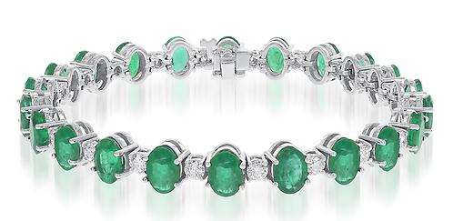 14kt Emerald and  Diamond Bracelet