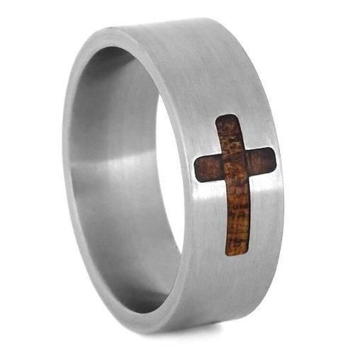 Titanium Cross Design Wood Band