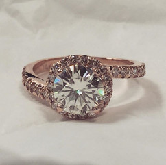 Halo rose gold ring fresh off the bench!