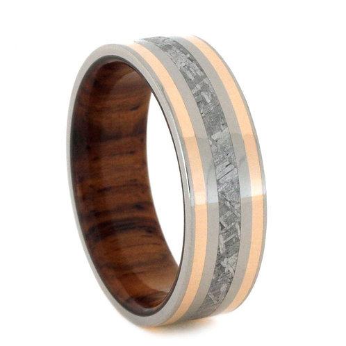Meteorite Gold Wood Titanium Ring