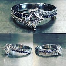 Beautiful princess cut diamond and sapph