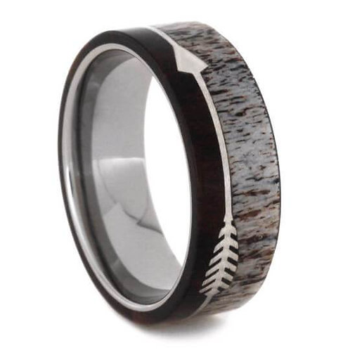 Arrow Deer Antler Titanium Wood Ring