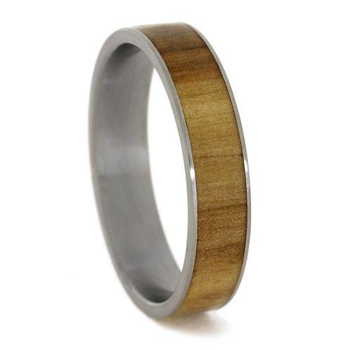 Wood inlay Titanium Ring