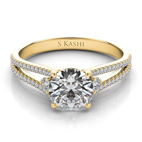 14kt Yellow Gold Moissanite Engagement Ring