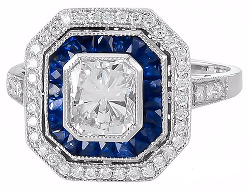14kt Moissanite and Sapphire Ring