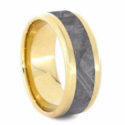 14kt gold Meteorite band