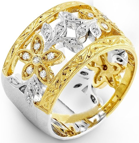 14k White and Yellow Gold Moissanite Wide Band