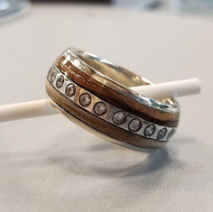 Double wood diamond wedding band .#union