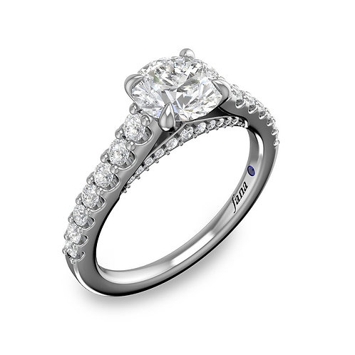 Round Cut and Bold Pave Engagement Ring