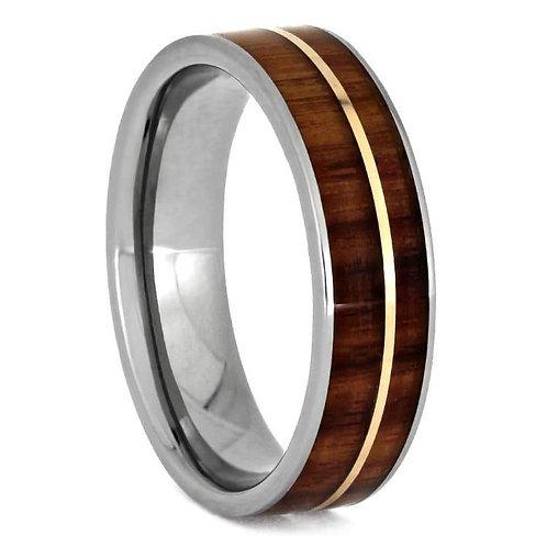 Wood gold inlay titanium band