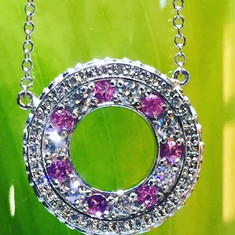 Pink sapphire and diamonds in the glorio