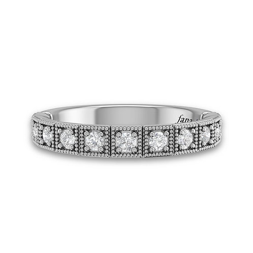 14kt Gold Milgrain Lined Square Bezel Set Moissanite Wedding Band