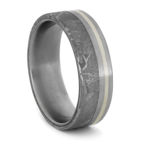 Meteorite 10kt White Gold Titanium Ring