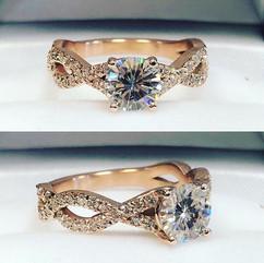 Rose gold twist design diamond ring by y