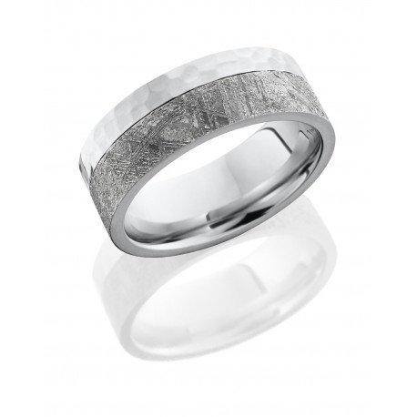 Cobalt Chrome 8mm Flat Band with 5mm Meteorite on the Edge