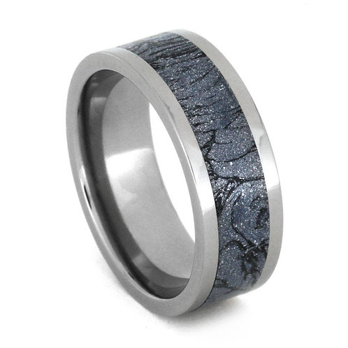 Blue cobalt mokume gane Titanium Ring