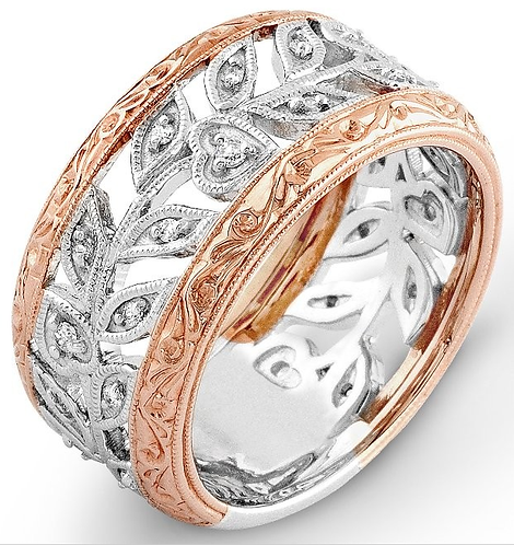 14k White and Rose Gold Moissanite Wide Band