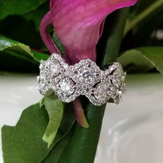 Diamond custom wedding band made by hand