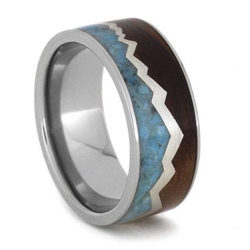 Turquoise Wood Titanium Ring