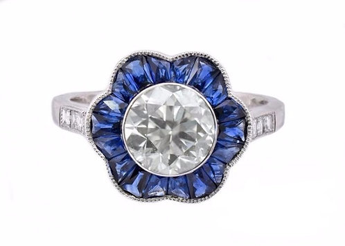Sapphire Halo and 14kt Moissanite Ring