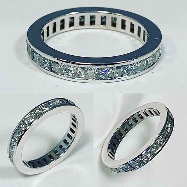 Eternity princess cut diamond wedding ba