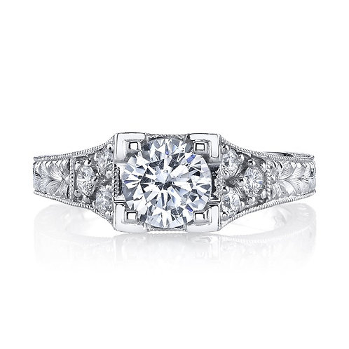 14kt White Gold Moissanite Art Deco Engagement Ring