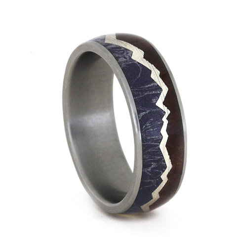Wood mokume gane  Titanium Ring