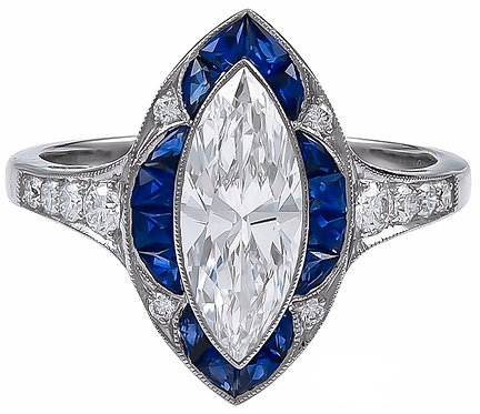14kt Moissanite Marquise Cut Center with Sapphires Ring