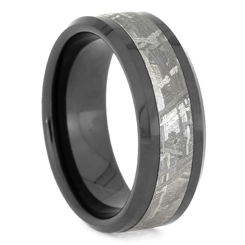 Meteorite Black Ceramic Ring