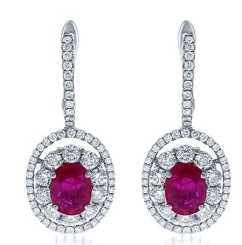 14kt Ruby and  Diamond Earrings