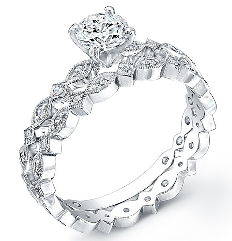 14kt Moissanite Art Deco Engagement Ring with Band