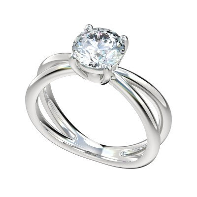 14kt Split Shank Solitaire Engagement Ring