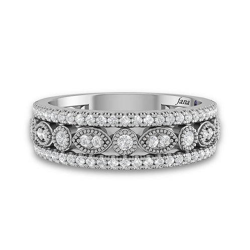 14kt Gold Channel Set Marquise and Dot Wedding Band with Miglrain Detail