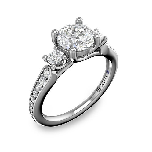 Three Stone and Tapered Pave Engagement Ring