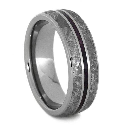 Meteorite Wood Titanium Ring