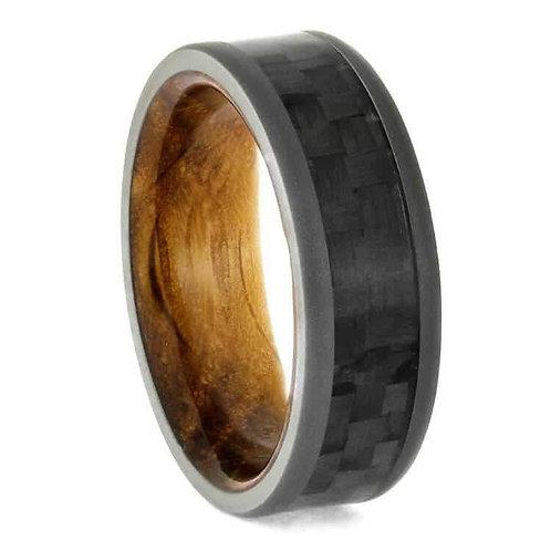 Wood Carbon Fiber Titanium Ring