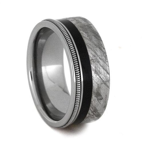 Meteorite wood guitar string  Titanium Ring