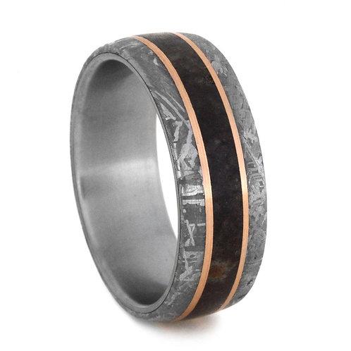 Meteorite 14kt rose gold Titanium Ring