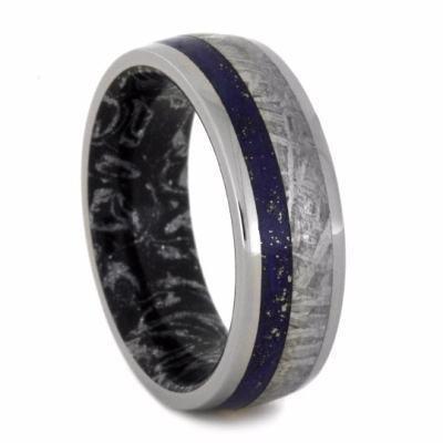 Lapis Titanium Meteorite Band