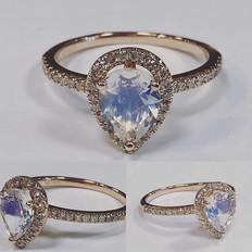Moonstone halo diamond ring 💍! #moonsto