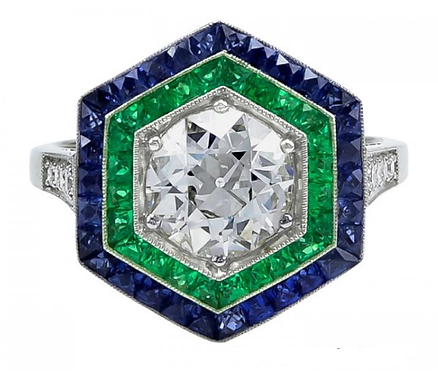 Sapphire Emerald and 14kt Moissanite Ring