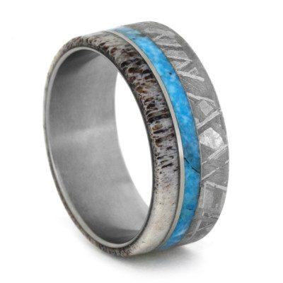 Meteorite Turquoise Deer Antler Titanium Ring