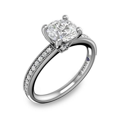 Milgrained Channel Set Diamond Engagement Ring