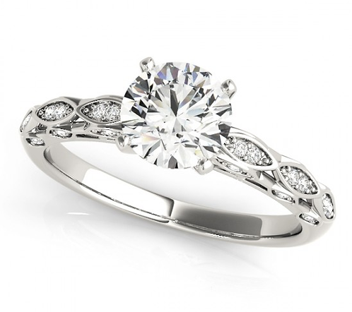14kt Moissanite Art Deco Engagement Ring