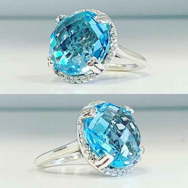 Blue topaz natural offset with precious