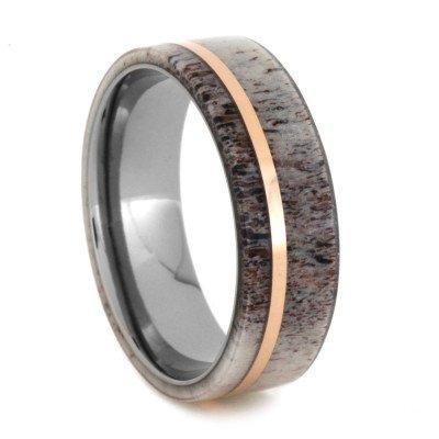 Deer antler gold titanium ring