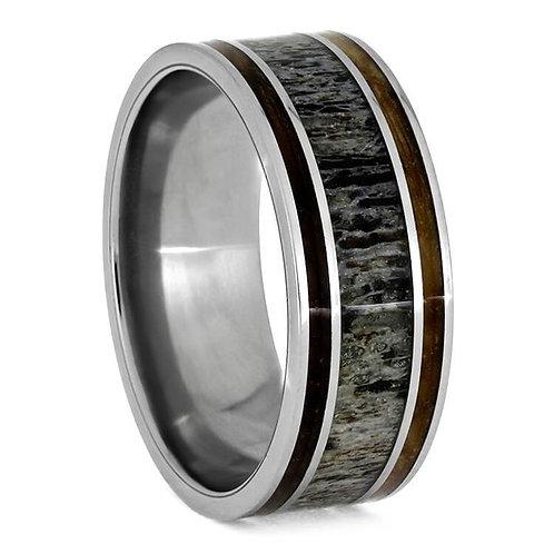 Wood Deer Antler Titanium Ring